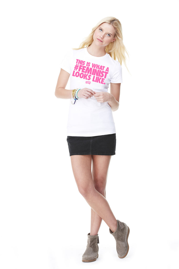 "Women's Fitted 100% Cotton ""#Feminist"" Tee - Pink"