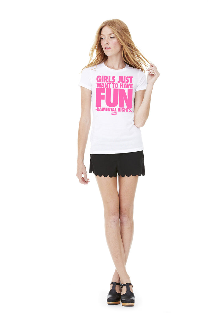 "Women's Fitted 100% Cotton ""Fundamental Rights"" Tee - Pink"