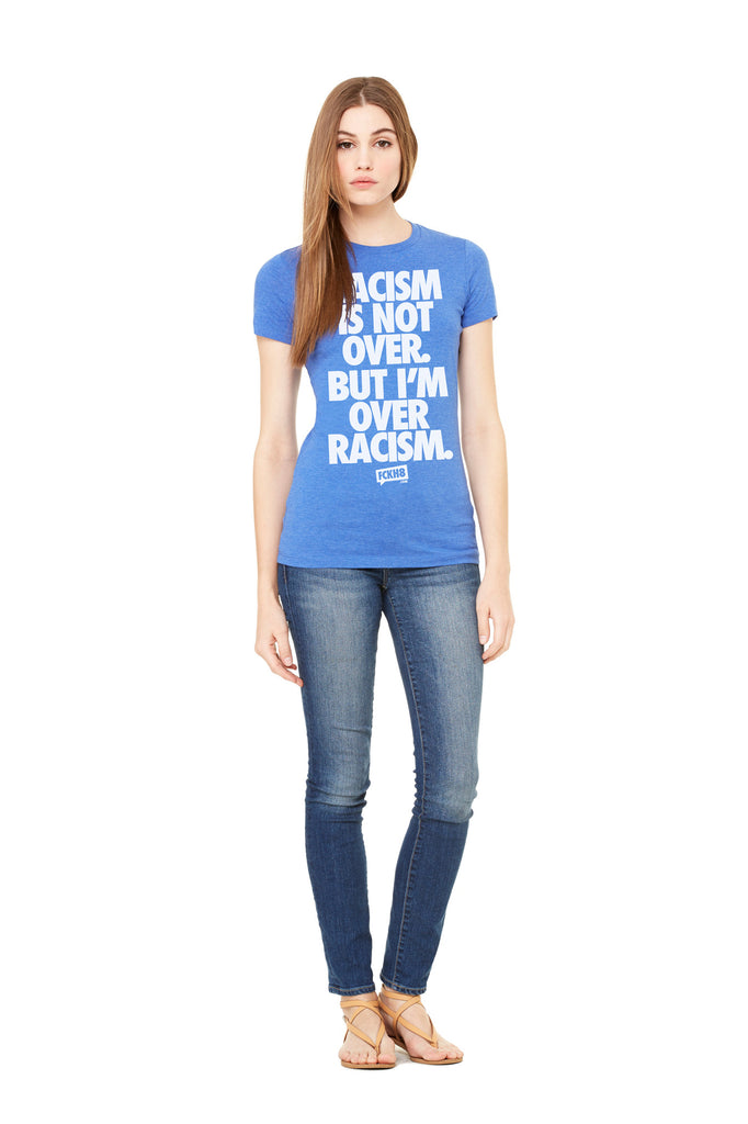 "Blue Women's Fitted Vintage ""Anti-Racism"" Tee"