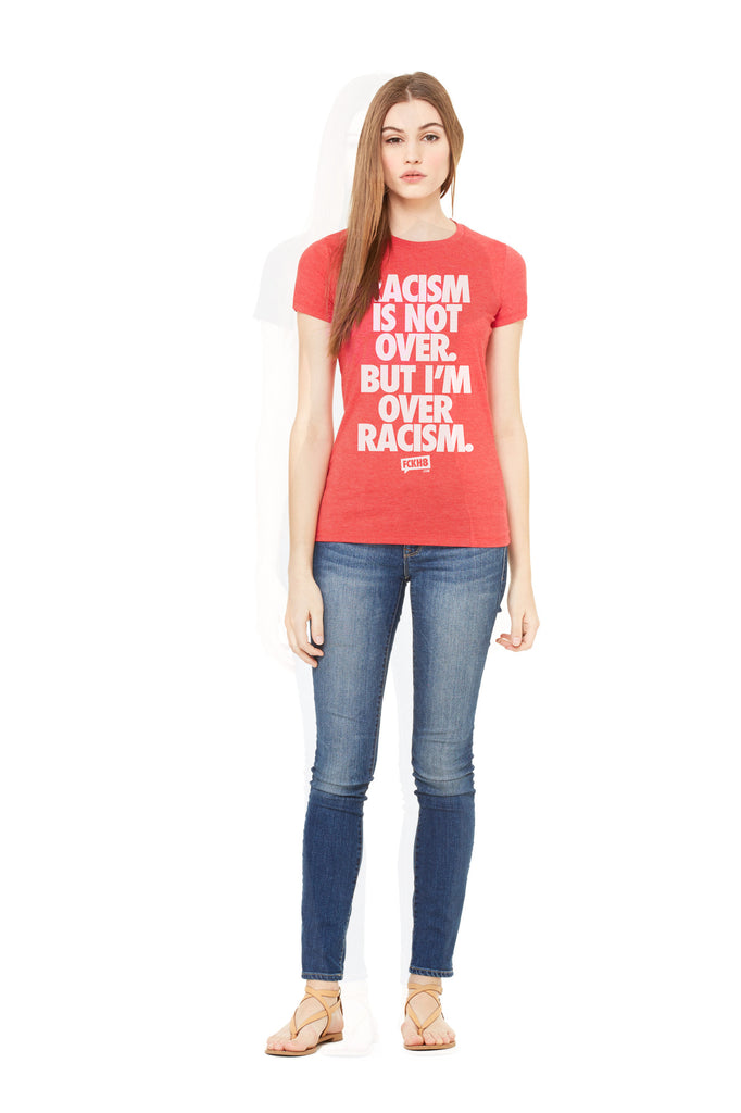 "Red Women's Fitted Vintage ""Anti-Racism"" Tee"