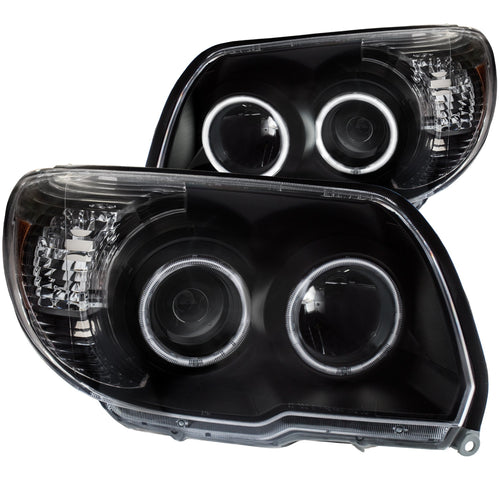 Projector Headlight Set Clear Lens Black Housing Pair w/U-Bar