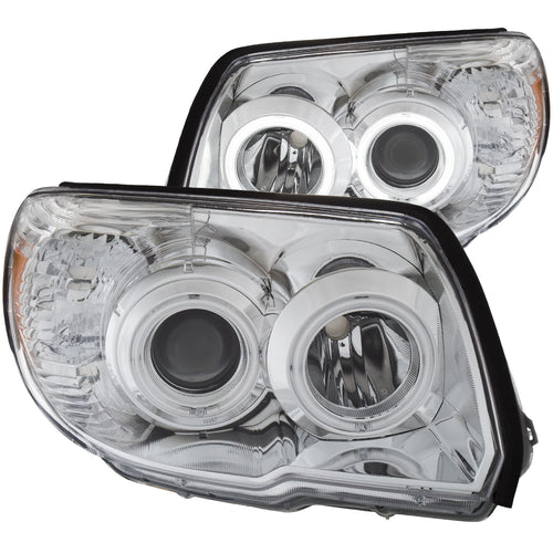 Projector Headlight Set Clear Lens Chrome Housing Pair w/U-Bar