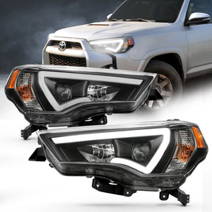 Projector Headlight Set w/Plank Style Switchback Black w/Amber Pair