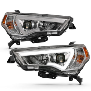Projector Headlight Set w/Plank Style Switchback Chrome w/Amber Pair