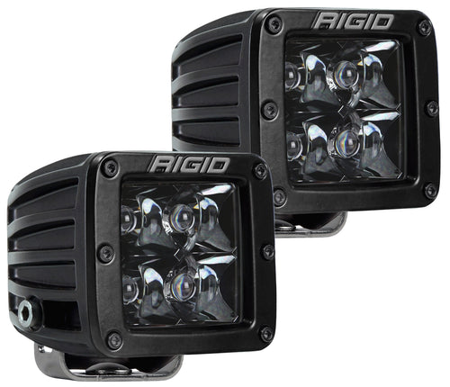 D-Series Pro Spot Light Surface Mount Hybrid 4 White LEDs Black Enamel Finish Midnight Black Square Housing Pair