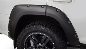 Pocket Style® Fender Flares 4 pc. Front Tire Coverage 1.5 in. Front Height 5.5 in. Rear Tire Coverage 1.5 in Rear Height 5.5 in. Smooth Finish Black