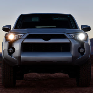 Toyota 4Runner comparison between stock halogen low beam and new LED low beam bulb