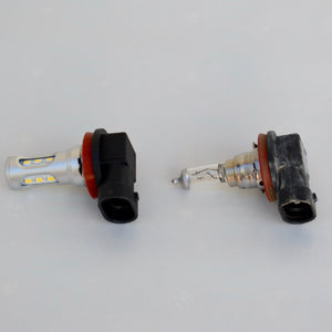 Toyota 4Runner LED fog Light bulb comparison to stock halogen bulb