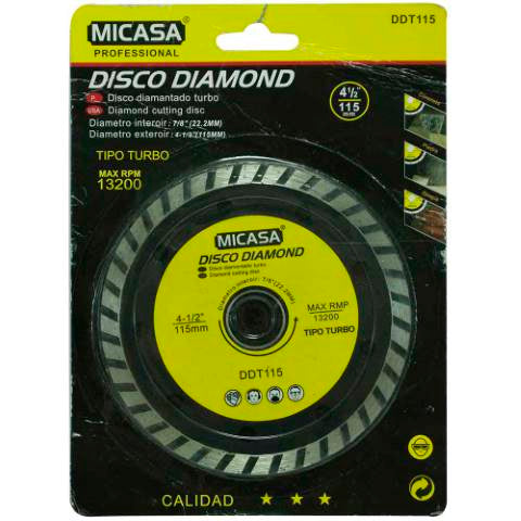 "Disco 4 ½"" corte turbo diamantada X 2und"