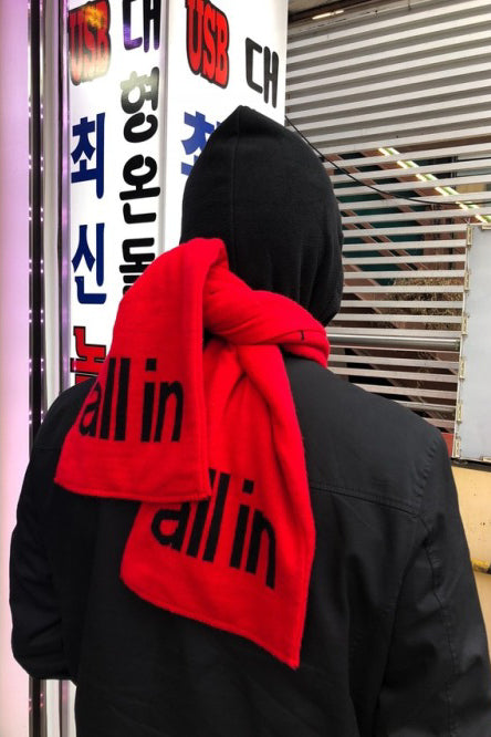 all in Yiddish Scarf (RED)