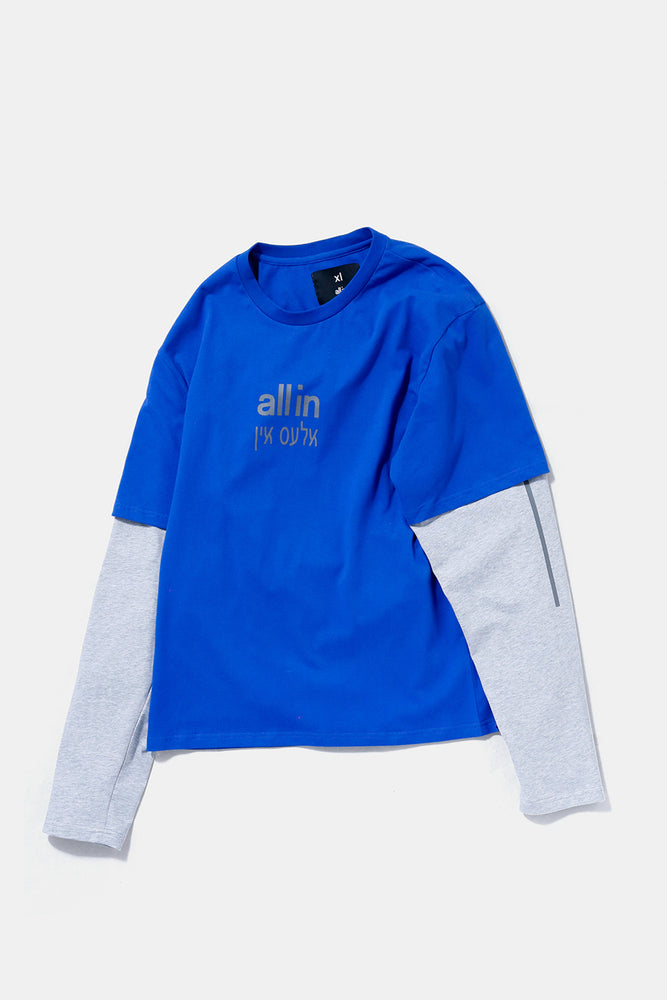 all in Yiddish L/S TEE (BLU)