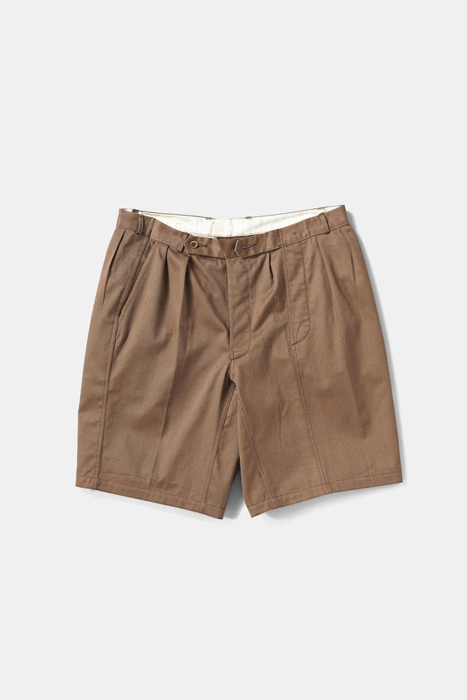 Cotton Twill Brown Shorts Wide Custom