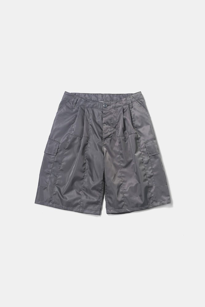 Shiny Nylon Cargo Shorts Gray