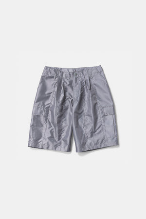 Shiny Nylon Cargo Shorts Silver
