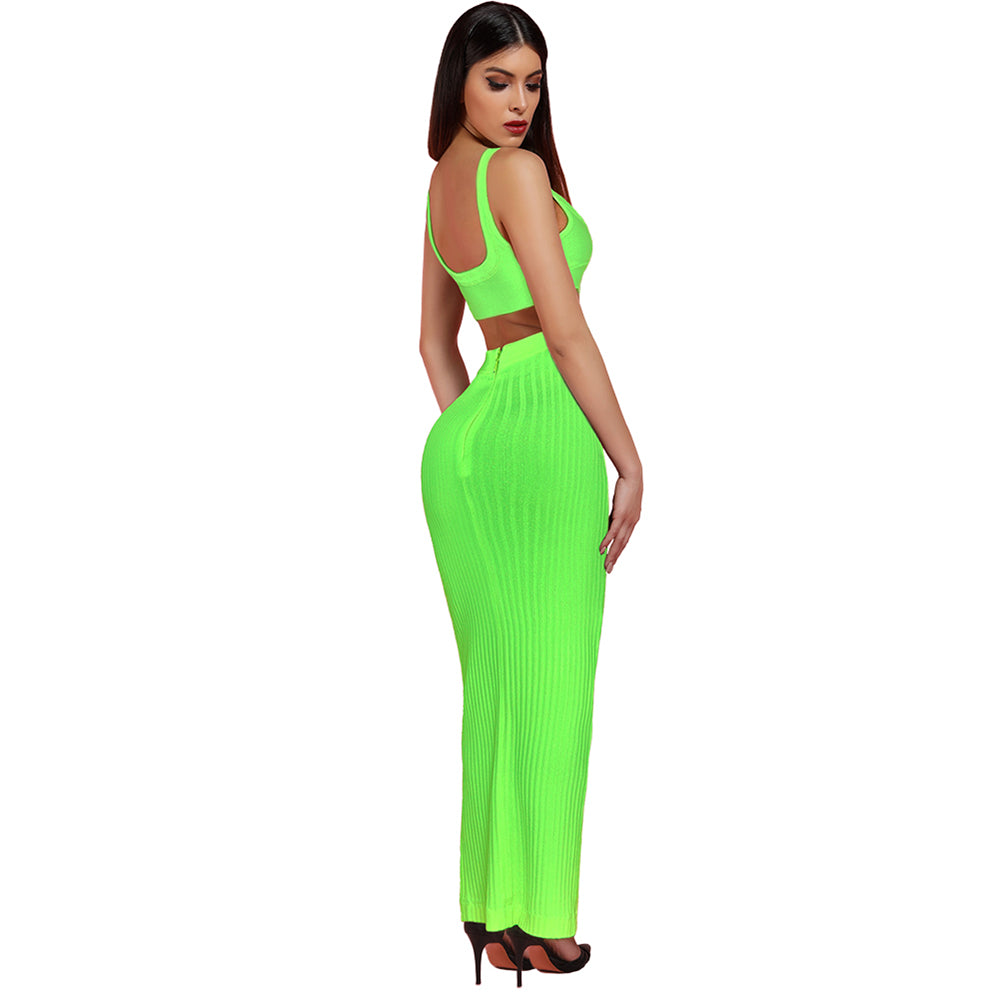 2019 Sexy Summer, Neon-Green, 2-Piece-Bandage-Set