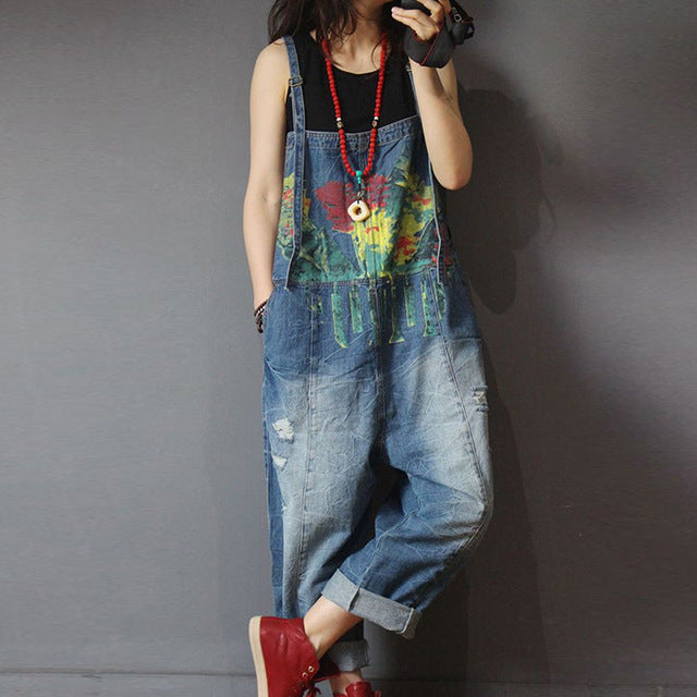 2019 Adorable New Distressed, Hand Painted, Cropped-Pant Overalls