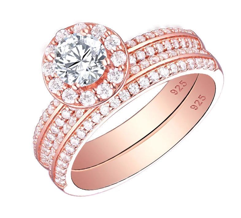 2019 New 14K-Rose-Gold, Round-Cut-Zirconia Rings