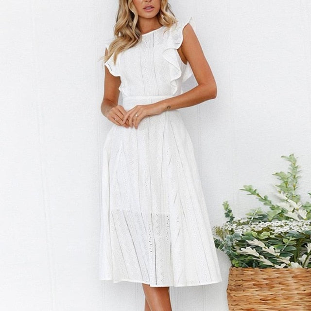 2019 New Sexy-Ruffled, Round-Neck, Lace Dress