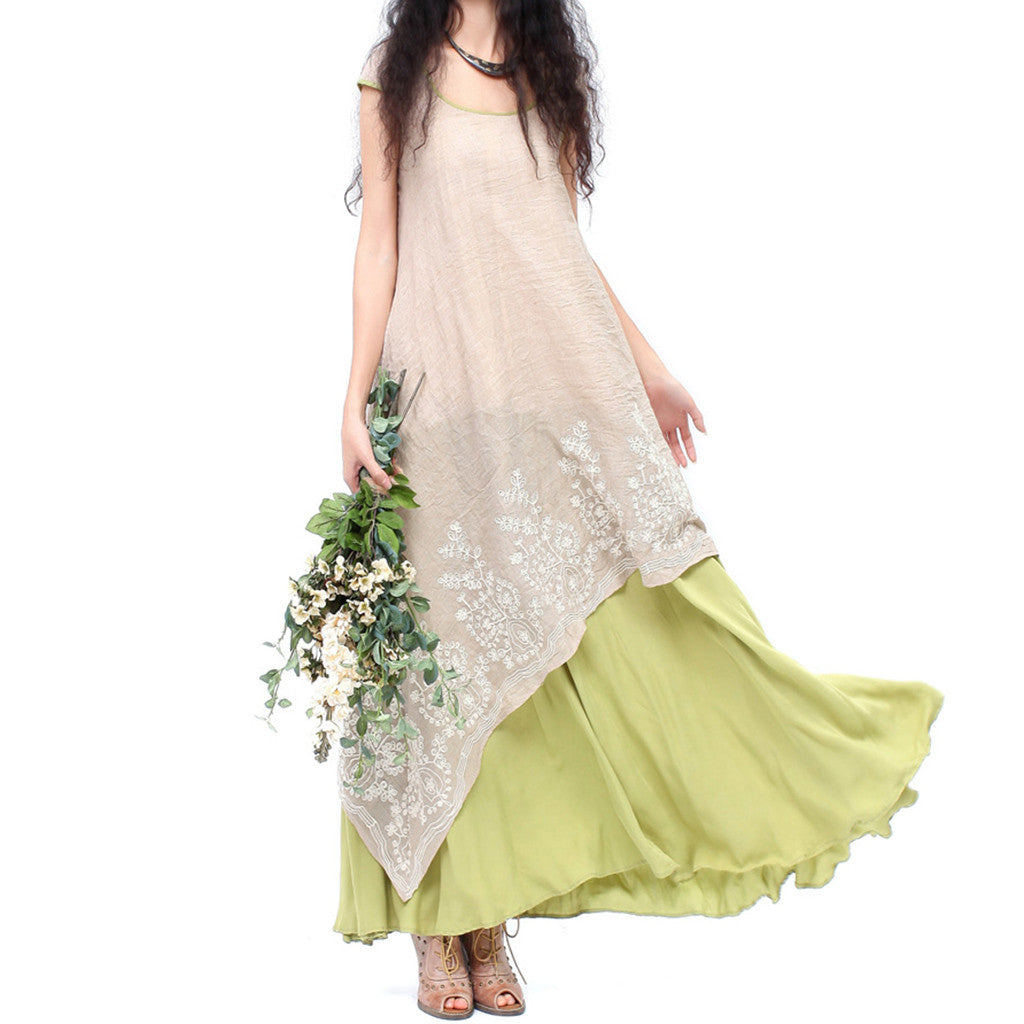 2019 New Women's, Cotton & Linen, Embroidered, Maxi Dress