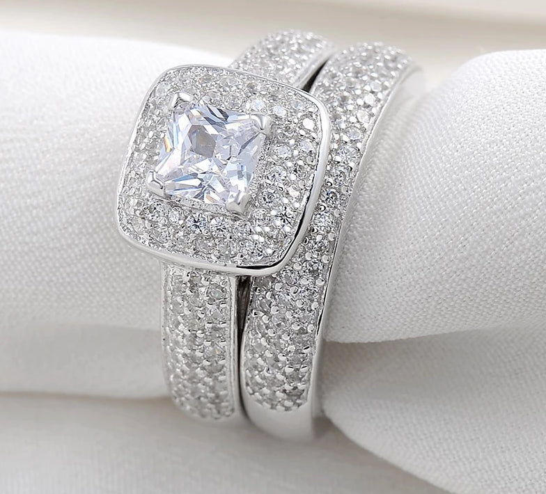 2019 New 2.26-Ct, Princess-Cut, White-Zircon, 925.Sterling-Silver Rings