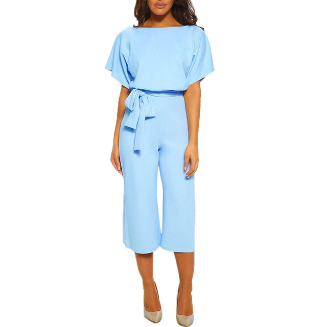 2019 New Women's Short-Sleeve, Straight-Leg Jumpsuit with Belt
