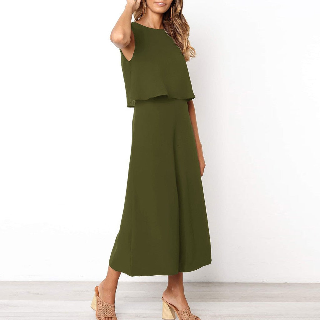 2019 New Women's Sleeveless, Casual-Loose Solid-Color Jumpsuit
