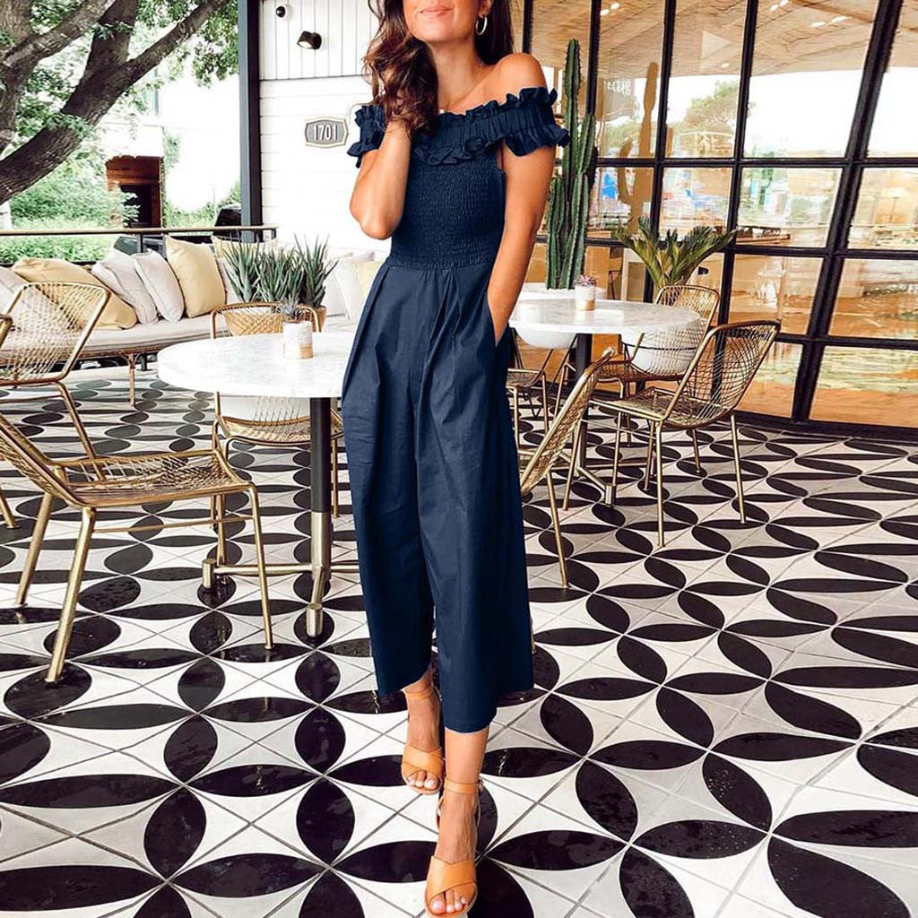2019 New Summer, Short-Sleeve, Jumpsuit, Wide-Leg Rompers