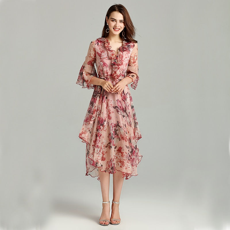 2019 New Sexy, Flare-Sleeve, Summer Print-Dress