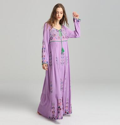 2019 New Bohemian Embroidered-Flower, Long Maxi-Dress