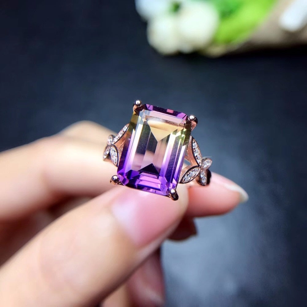 2019 New Exquisite, Natural-Amethyst, 925.Sterling-Silver Ring