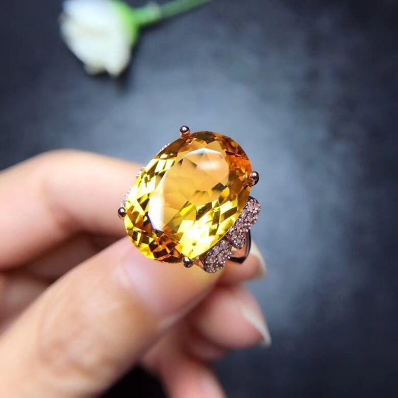 2019 New Citrine, 925.Sterling-Silver Ring