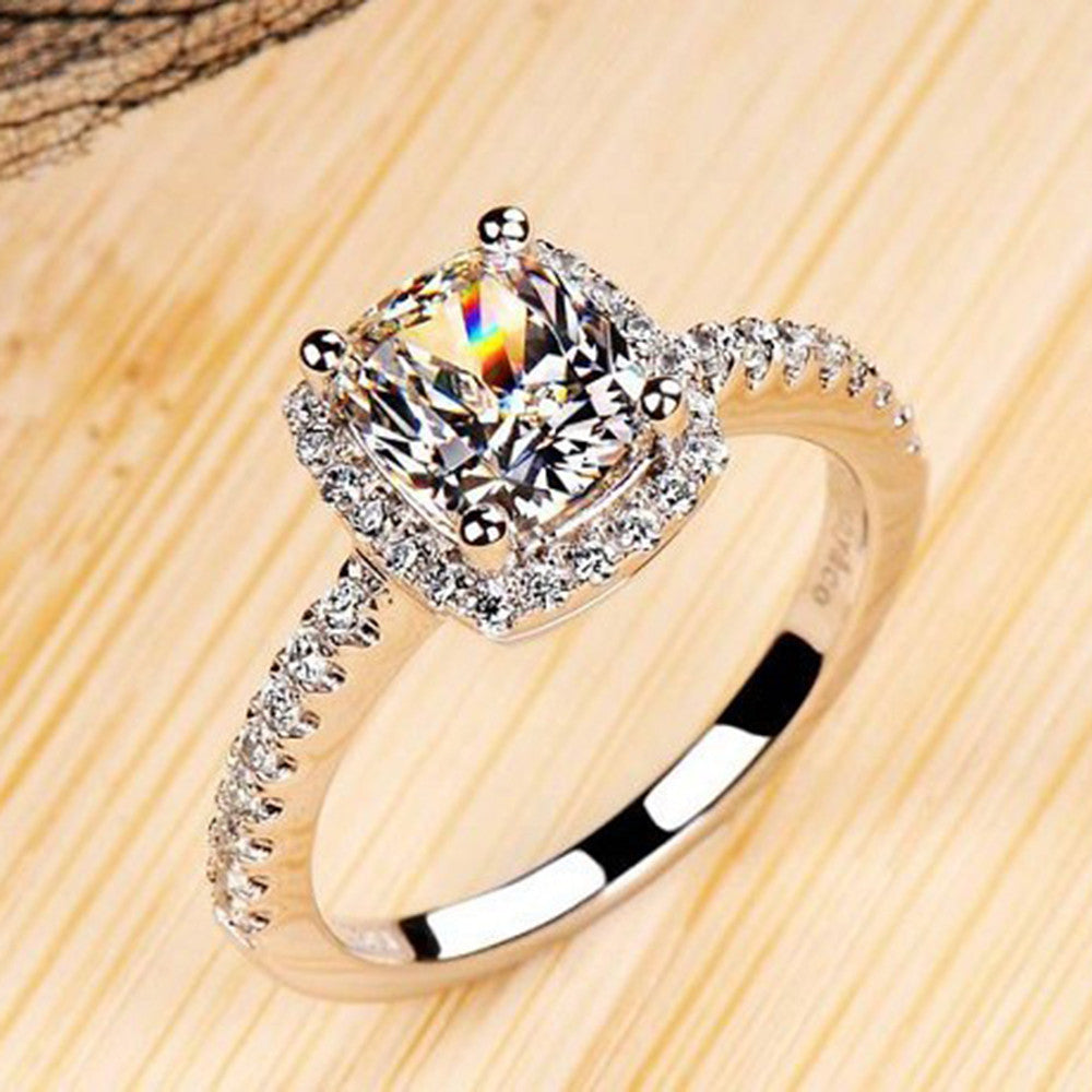 2019 Elegant White-Oval, Silver-Filled, Zirconia Ring