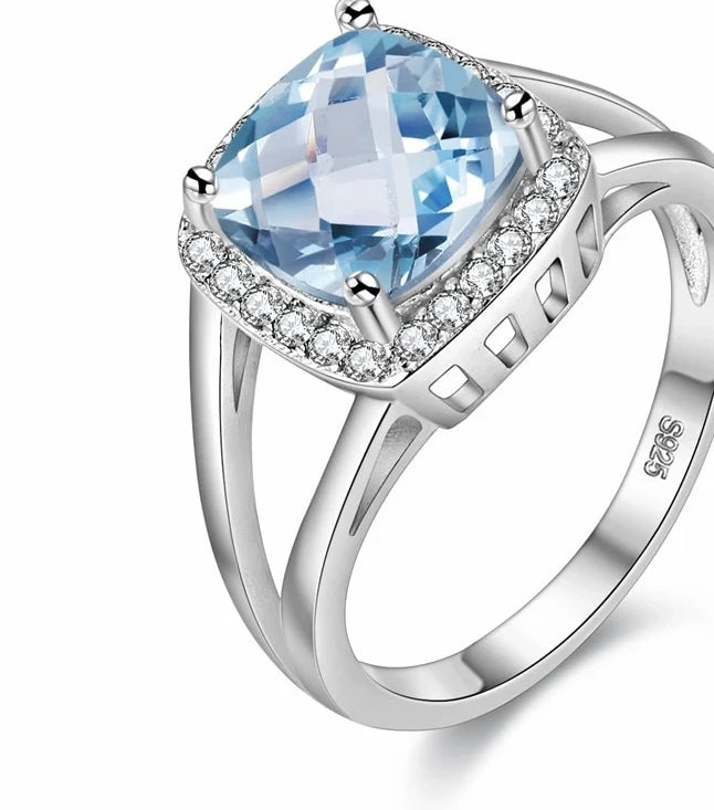 2019 New London-Blue-Topaz, 925.Solid-Sterling-Silver Ring