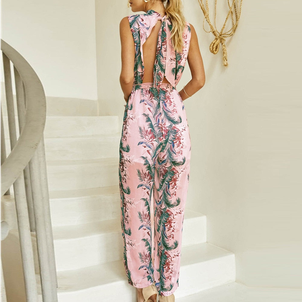2019 New Summer-Chiffon, Floral-Printed, Wide-Leg Playsuit