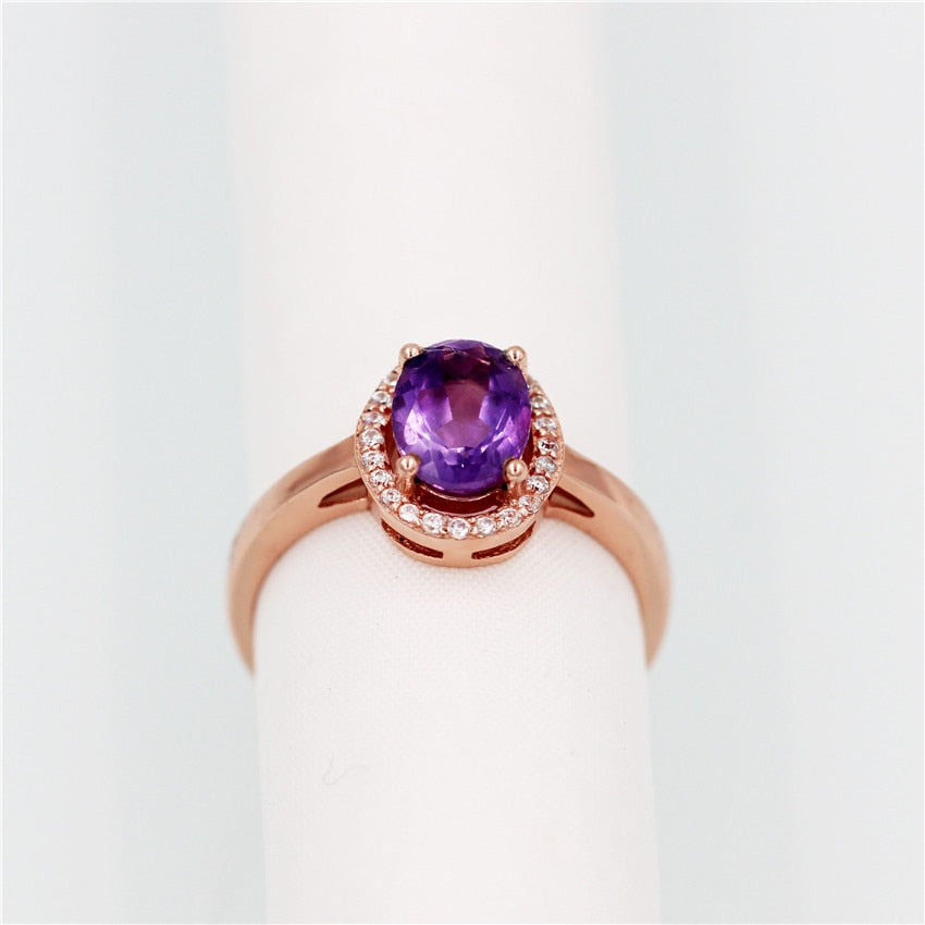 2019 New Oval-Cut-Purple-Amethyst, 925.Sterling-Silver Ring with Box