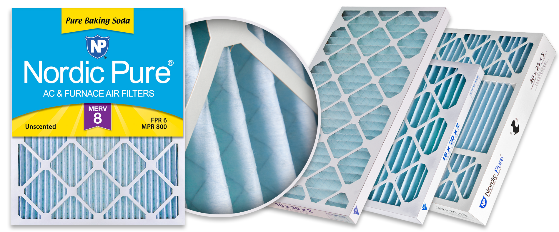 Nordic Pure 13x20x1 Exact MERV 8 Pure Carbon Pleated Odor Reduction AC Furnace Air Filters 4 Pack