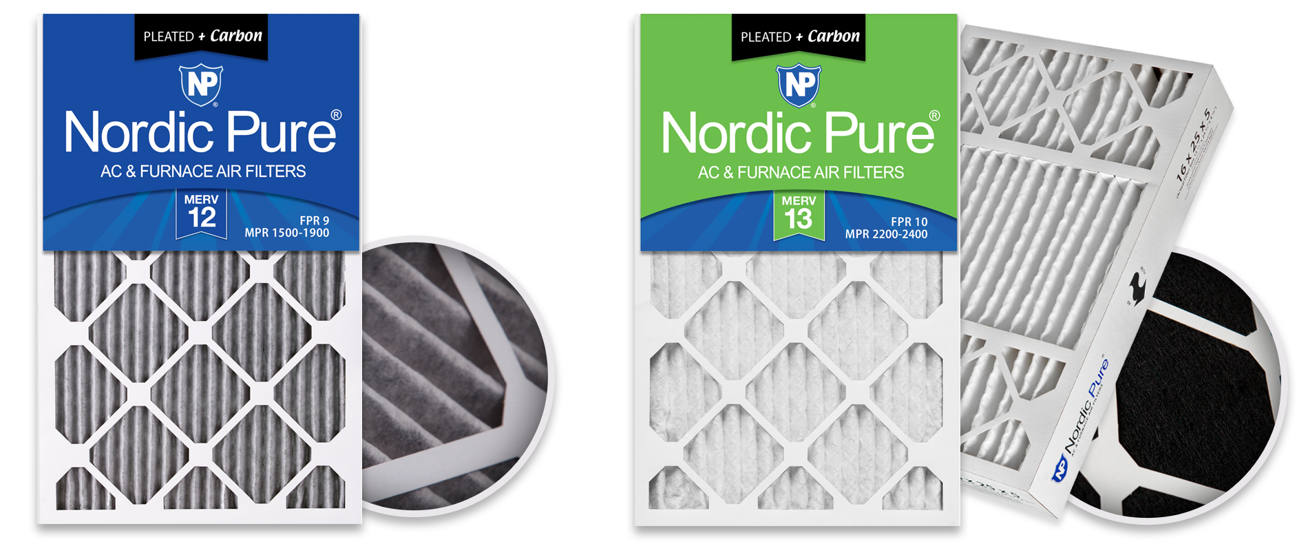 Nordic Pure MERV 12 and MERV 13 Pleated Plus Carbon