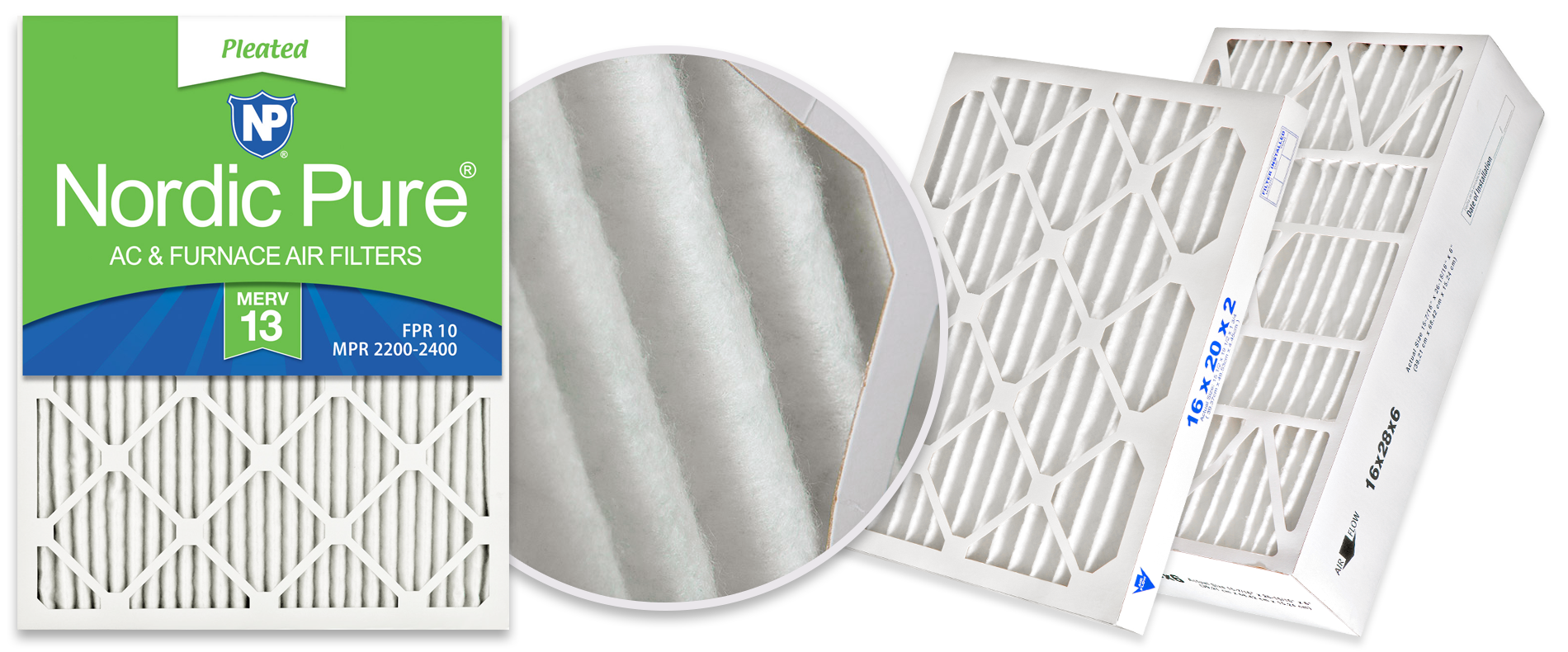 Nordic Pure MERV 13 Pleated Air Filters, Best for Allergies