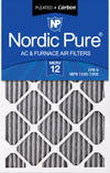 14x25x1 Furnace Air Filters MERV 12 Pleated Plus Carbon 12 Pack
