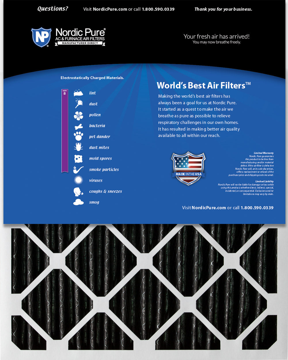14x20x2 Furnace Air Filters MERV 8 Pleated Plus Carbon 3 Pack