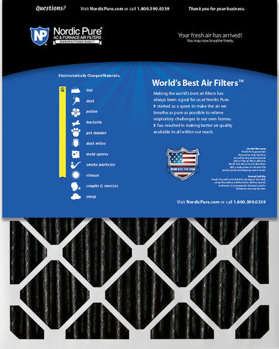 20x24x2 Furnace Air Filters MERV 10 Pleated Plus Carbon 12 Pack