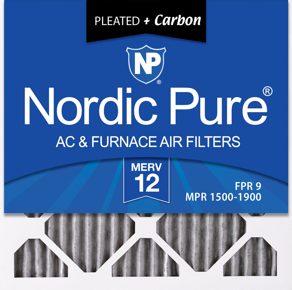 10x10x1 Furnace Air Filters MERV 12 Pleated Plus Carbon 3 Pack