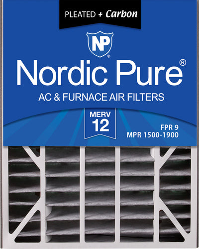 Air Bear 20x25x5 (4 7/8) Air Filter Replacement MERV 12 Pleated Plus Carbon 2 Pack
