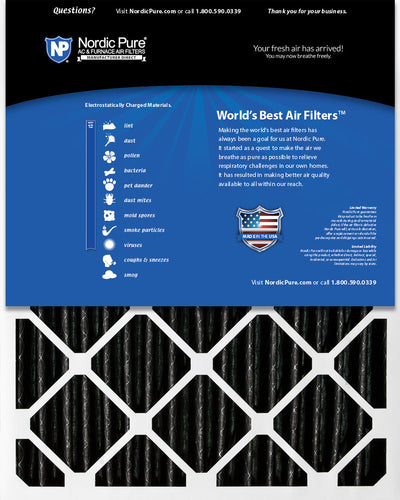 16x25x4 (3 5/8) Furnace Air Filters MERV 12 Pleated Plus Carbon 2 Pack
