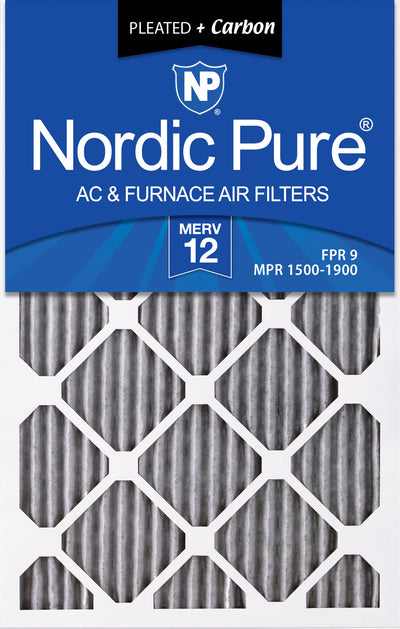 16x20x1 Furnace Air Filters MERV 12 Pleated Plus Carbon 12 Pack