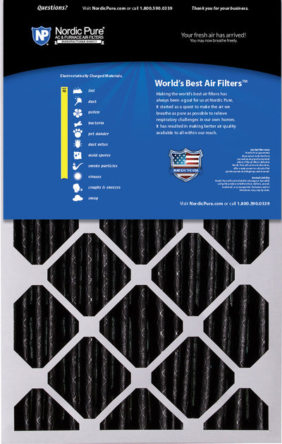 16x25x5 (4 3/8) Honeywell/Lennox Replacement Air Filters MERV 10 Pleated Plus Carbon 2 Pack