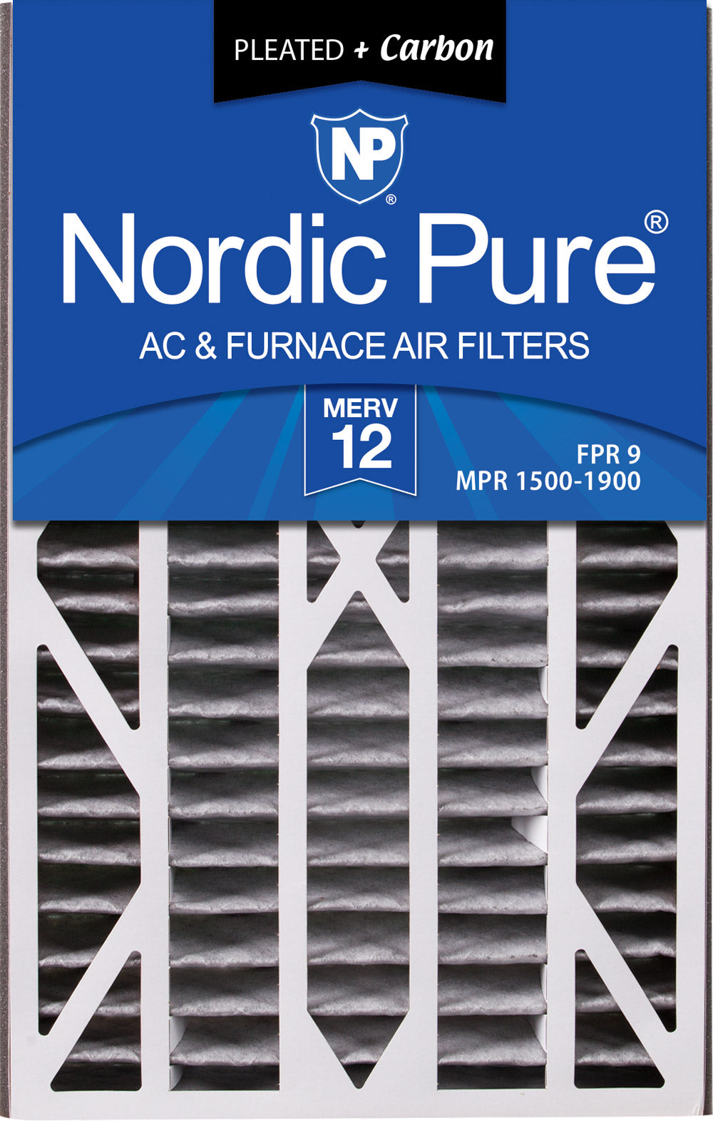 Air Bear Cub 16x25x3 Air Filter Replacement MERV 12 Pleated Plus Carbon 3 Pack