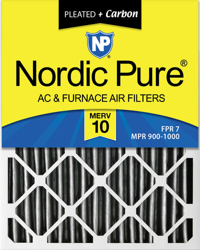 16x25x2 Furnace Air Filters MERV 10 Pleated Plus Carbon 12 Pack