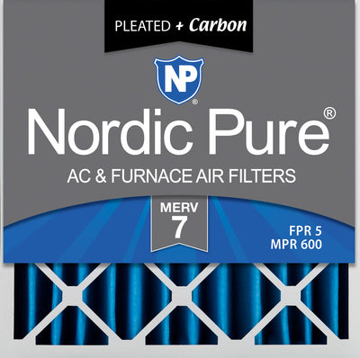 20x20x4 (3 5/8) Pleated Air Filters MERV 7 Plus Carbon 2 Pack