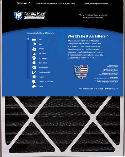 Air Bear 20x25x5 (4 7/8) Air Filter Replacement MERV 12 Pleated Plus Carbon 1 Pack